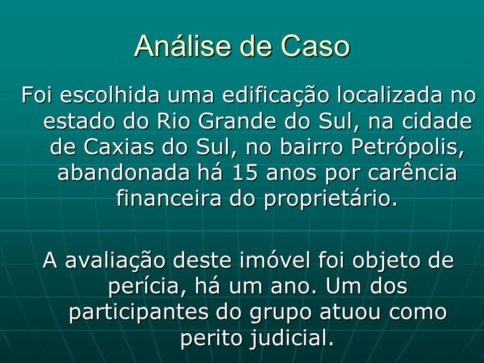 Análise de Caso Foi escolhida uma edificação localizada no estado do Rio Grande do Sul, na cidade de Caxias do Sul, no bairro Petrópolis, abandonada h