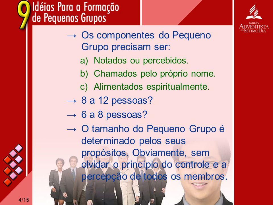 4/15 Os componentes do Pequeno Grupo precisam ser: a)Notados ou percebidos. b)Chamados pelo próprio nome. c)Alimentados espiritualmente. 8 a 12 pessoa