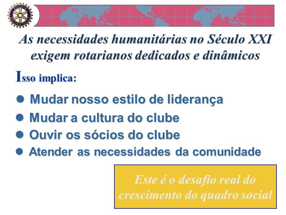 As necessidades humanitárias no Século XXI exigem rotarianos dedicados e dinâmicos Este é o desafio real do crescimento do quadro social l Mudar nosso
