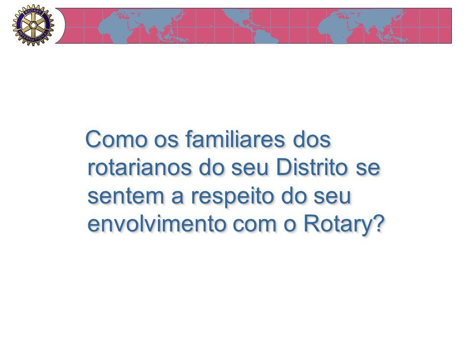 Como os familiares dos rotarianos do seu Distrito se sentem a respeito do seu envolvimento com o Rotary? Como os familiares dos rotarianos do seu Dist