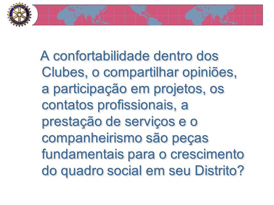 A confortabilidade dentro dos Clubes, o compartilhar opiniões, a participação em projetos, os contatos profissionais, a prestação de serviços e o comp