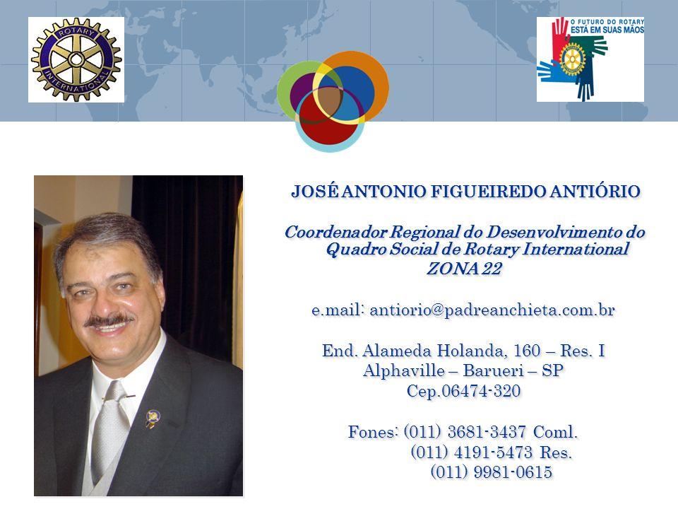 JOSÉ ANTONIO FIGUEIREDO ANTIÓRIO JOSÉ ANTONIO FIGUEIREDO ANTIÓRIO Coordenador Regional do Desenvolvimento do Quadro Social de Rotary International ZON