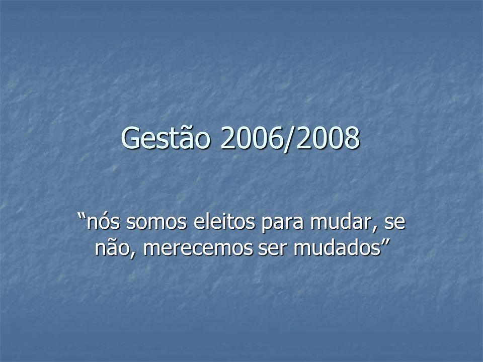 Gestão 2006/2008 nós somos eleitos para mudar, se não, merecemos ser mudados