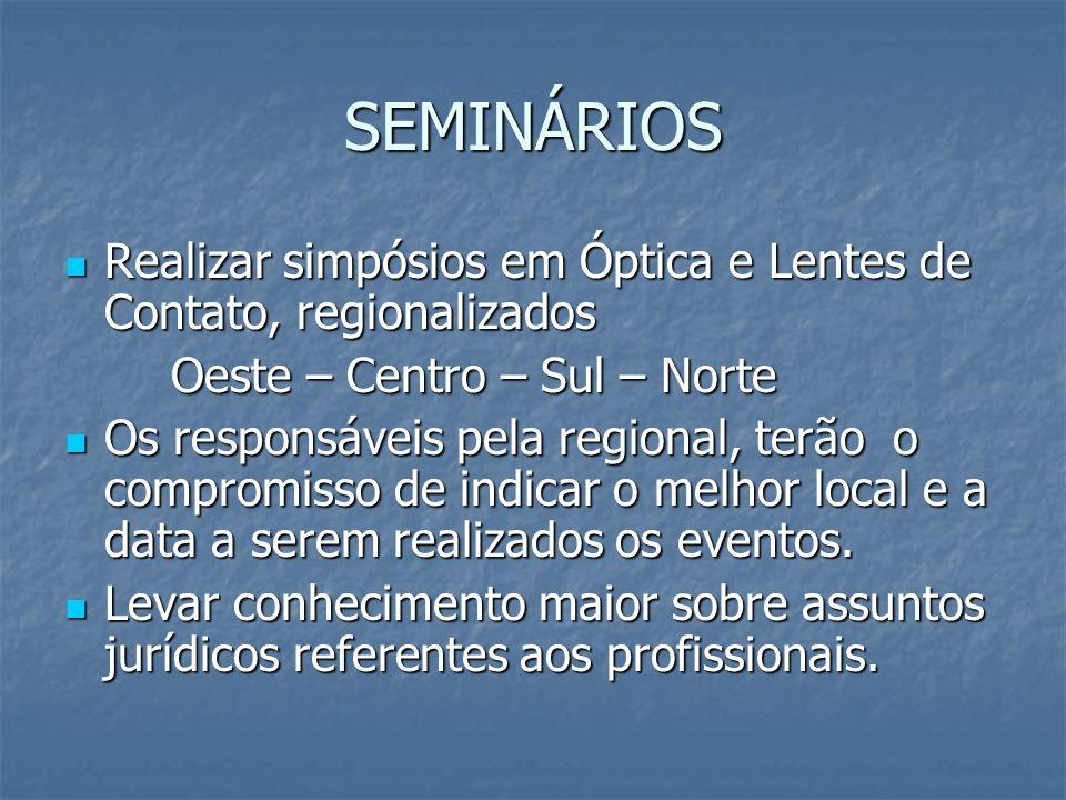 Objetivos dos Seminários Levar conhecimento aos associados do CROO/SC.