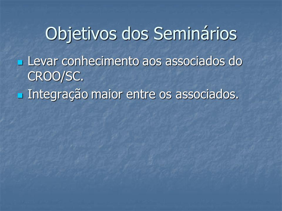 Objetivos dos Seminários Levar conhecimento aos associados do CROO/SC. Levar conhecimento aos associados do CROO/SC. Integração maior entre os associa