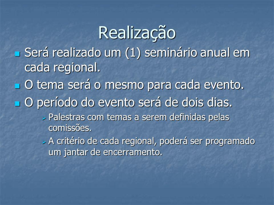 Realização Será realizado um (1) seminário anual em cada regional. Será realizado um (1) seminário anual em cada regional. O tema será o mesmo para ca