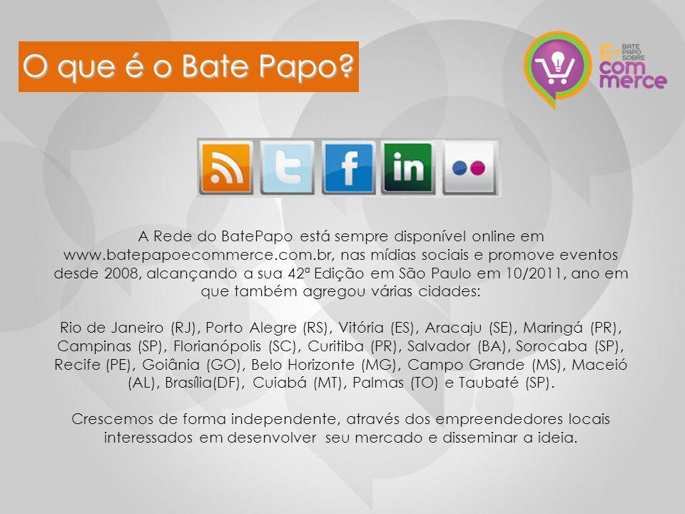 O que é o Bate Papo? A Rede do BatePapo está sempre disponível online em www.batepapoecommerce.com.br, nas mídias sociais e promove eventos desde 2008
