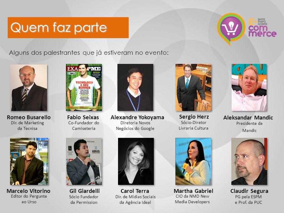 Alguns dos palestrantes que já estiveram no evento: Dir. de Marketing da Tecnisa Fabio Seixas Co-Fundador do Camiseteria Gil Giardelli Sócio Fundador