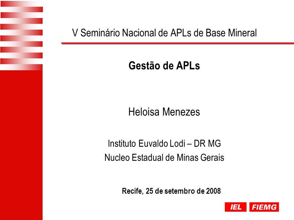 V Seminário Nacional de APLs de Base Mineral Gestão de APLs Recife, 25 de setembro de 2008 Heloisa Menezes Instituto Euvaldo Lodi – DR MG Nucleo Estadual de Minas Gerais