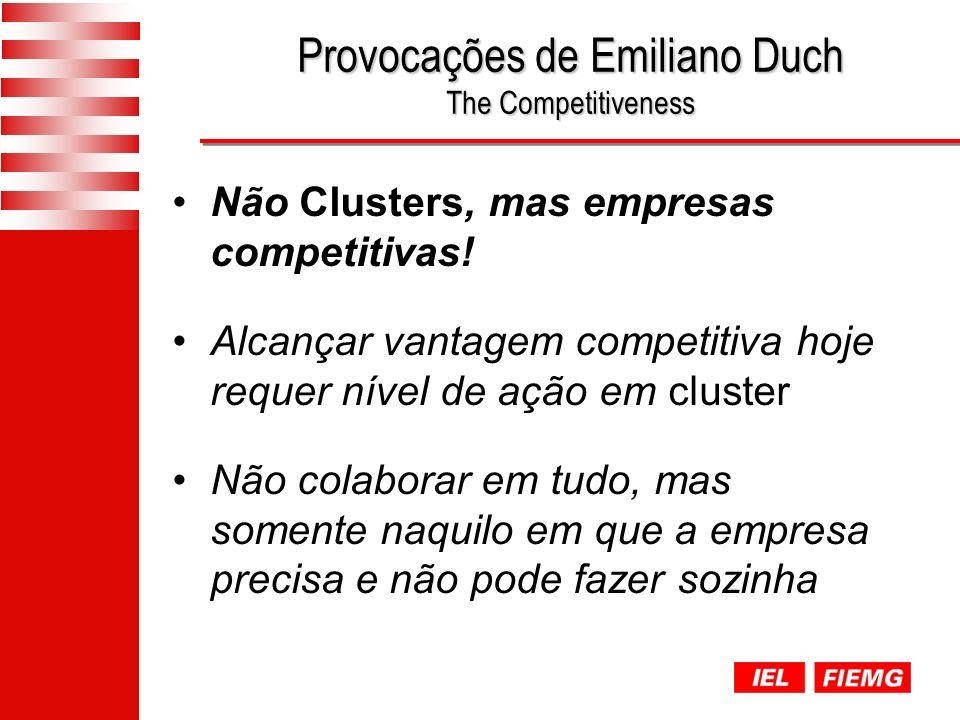 Provocações de Emiliano Duch The Competitiveness Não Clusters, mas empresas competitivas.