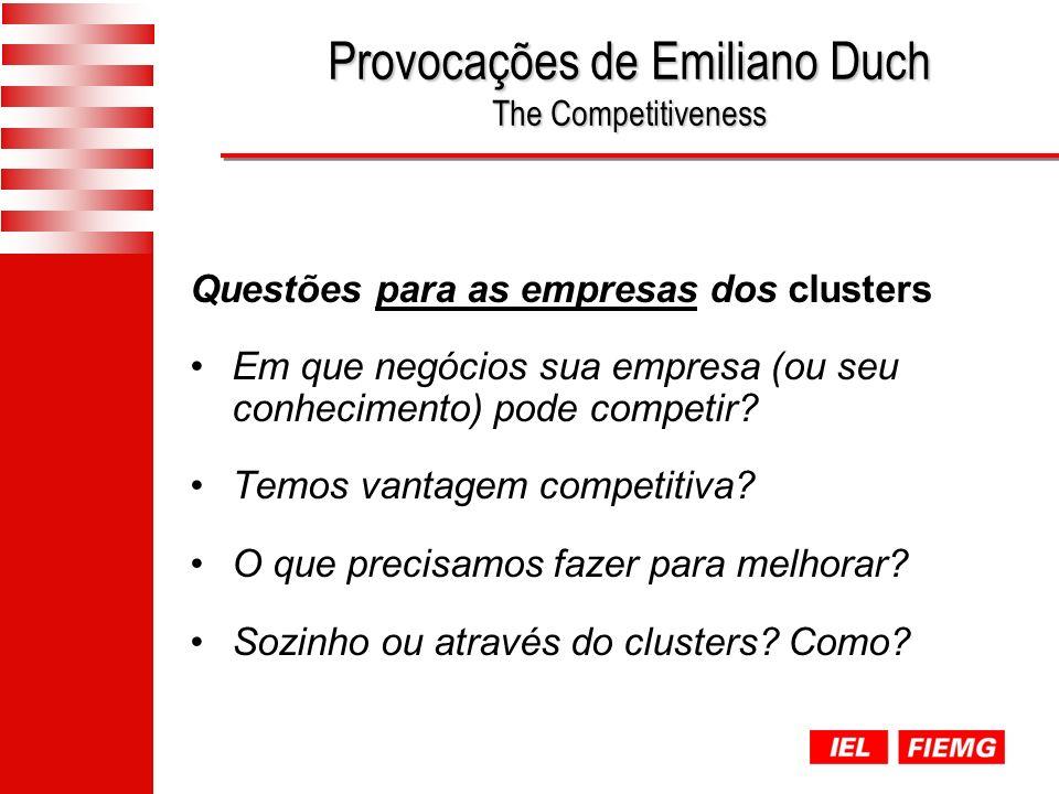 Provocações de Emiliano Duch The Competitiveness Questões para as empresas dos clusters Em que negócios sua empresa (ou seu conhecimento) pode competir.