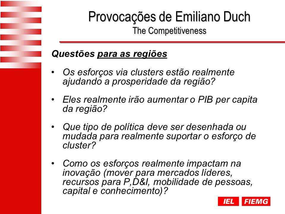 Provocações de Emiliano Duch The Competitiveness Questões para as regiões Os esforços via clusters estão realmente ajudando a prosperidade da região.
