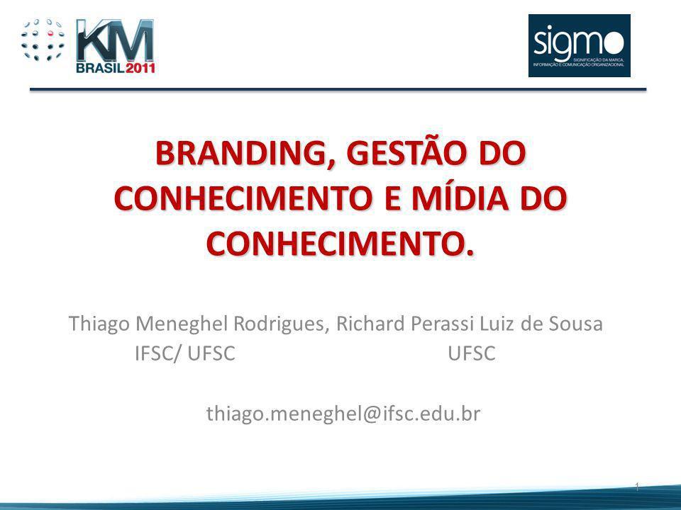 BRANDING, GESTÃO DO CONHECIMENTO E MÍDIA DO CONHECIMENTO. Thiago Meneghel Rodrigues, Richard Perassi Luiz de Sousa IFSC/ UFSC UFSC thiago.meneghel@ifs