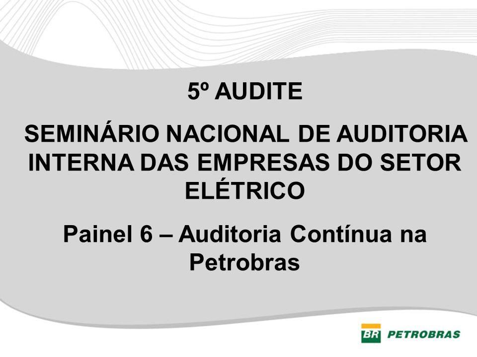 Agenda 1) Organograma da Auditoria Interna; 2) Conceito de Auditoria Contínua; 3) Expectativas de resultados para o processo; 4) Comparativo (Tradicional X Auditoria Contínua); 5) Demonstração do processo (Apurar e divulgar resultados); 6) Escopo atual; 7) Atividades em andamento; 8) Desafios para 2013; e 9) Benefícios alcançados.
