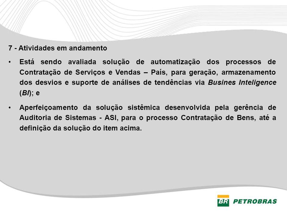 7 - Atividades em andamento Está sendo avaliada solução de automatização dos processos de Contratação de Serviços e Vendas – País, para geração, armaz