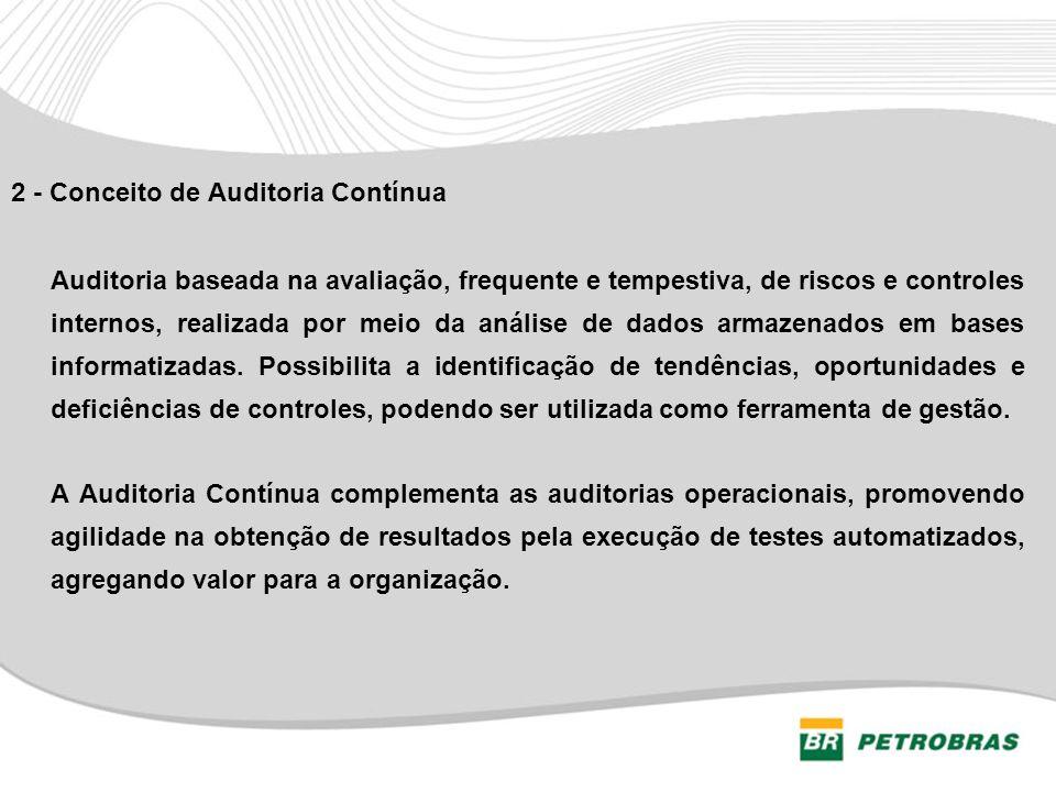 2 - Conceito de Auditoria Contínua Auditoria baseada na avaliação, frequente e tempestiva, de riscos e controles internos, realizada por meio da análi