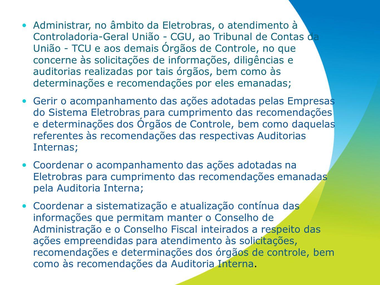 Administrar, no âmbito da Eletrobras, o atendimento à Controladoria-Geral União - CGU, ao Tribunal de Contas da União - TCU e aos demais Órgãos de Con