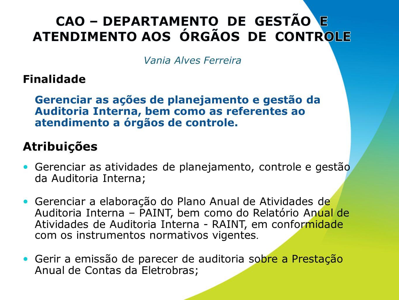 Finalidade Gerenciar as ações de planejamento e gestão da Auditoria Interna, bem como as referentes ao atendimento a órgãos de controle. Atribuições G