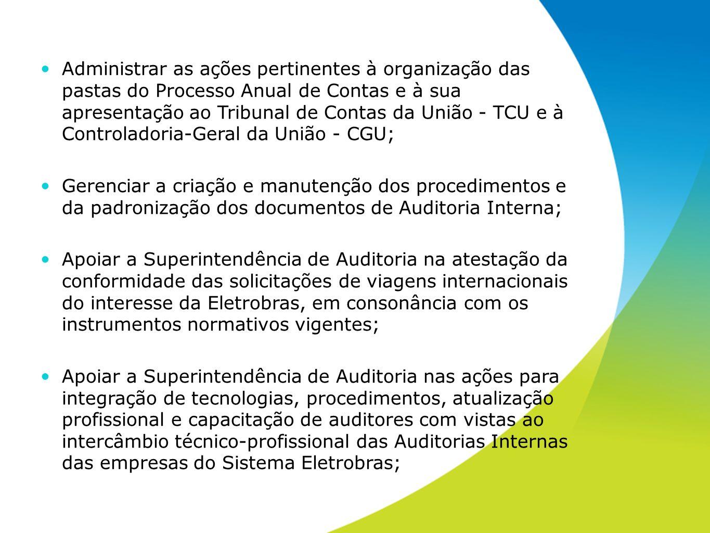 Administrar as ações pertinentes à organização das pastas do Processo Anual de Contas e à sua apresentação ao Tribunal de Contas da União - TCU e à Co