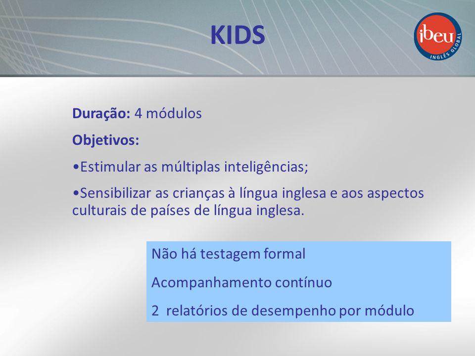 KIDS Duração: 4 módulos Objetivos: Estimular as múltiplas inteligências; Sensibilizar as crianças à língua inglesa e aos aspectos culturais de países
