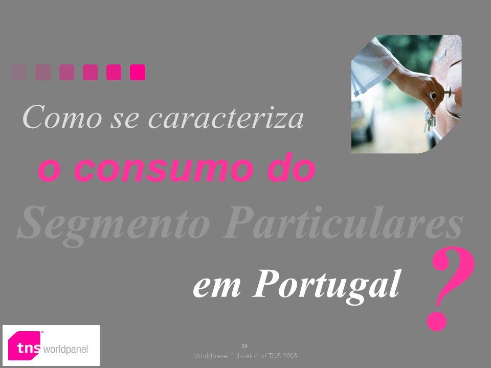 Worldpanel division of TNS 2008 29 Como se caracteriza Segmento Particulares em Portugal .