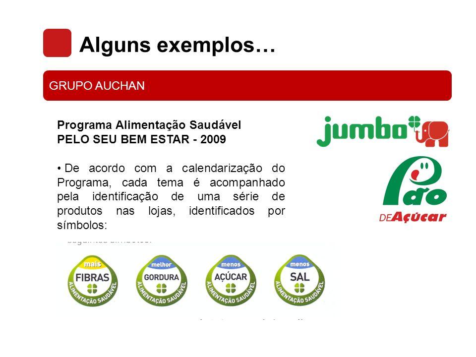 Alguns exemplos… GRUPO AUCHAN Programa Alimentação Saudável PELO SEU BEM ESTAR - 2009 De acordo com a calendarização do Programa, cada tema é acompanh