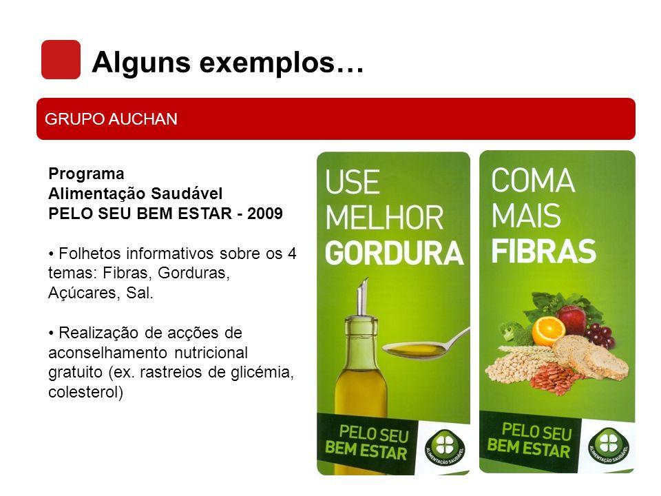Alguns exemplos… GRUPO AUCHAN Programa Alimentação Saudável PELO SEU BEM ESTAR - 2009 Folhetos informativos sobre os 4 temas: Fibras, Gorduras, Açúcar
