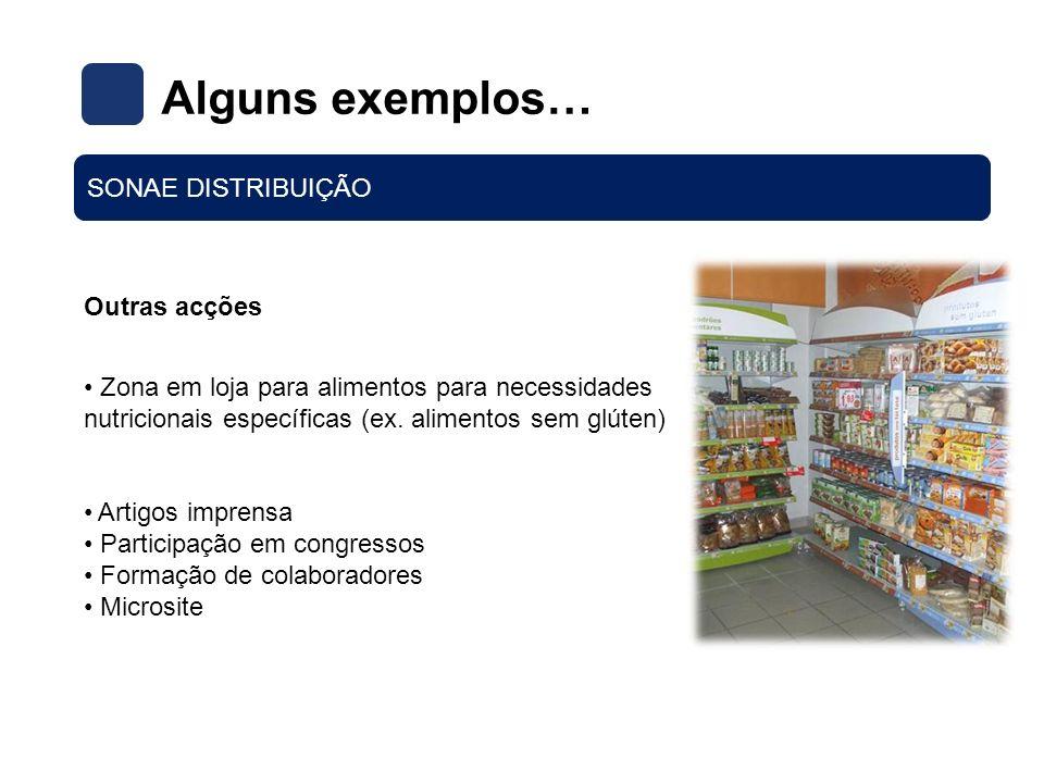 Alguns exemplos… SONAE DISTRIBUIÇÃO Outras acções Zona em loja para alimentos para necessidades nutricionais específicas (ex. alimentos sem glúten) Ar