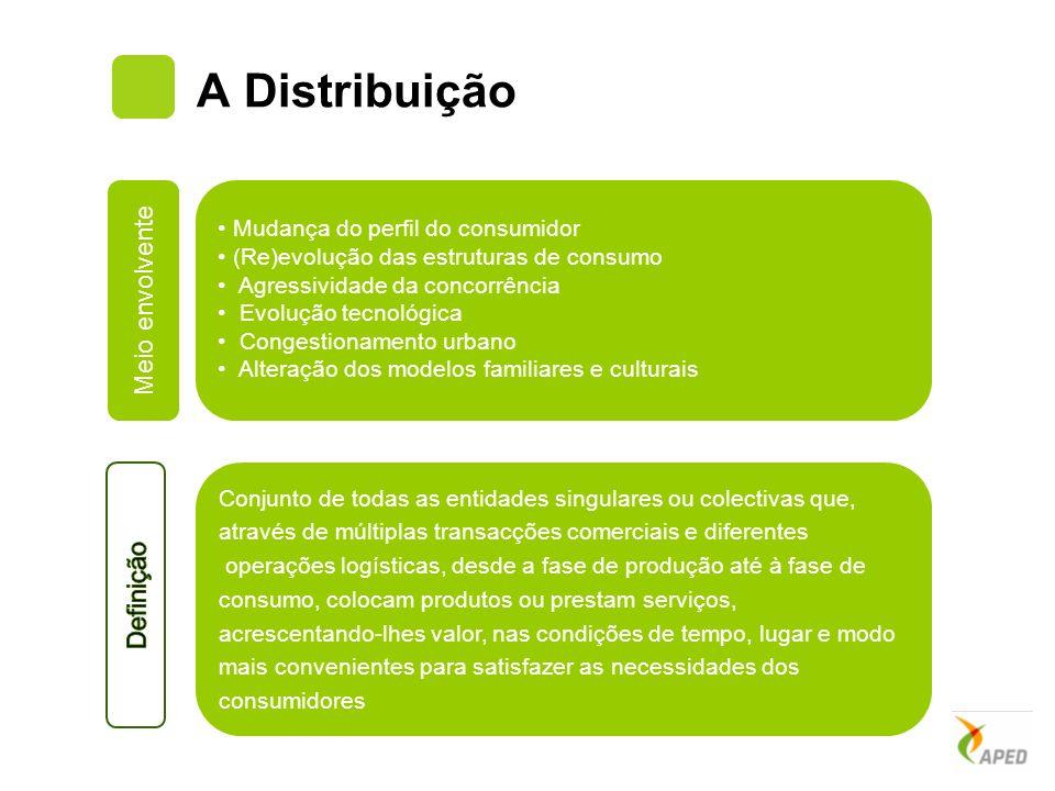 A Distribuição Mudança do perfil do consumidor (Re)evolução das estruturas de consumo Agressividade da concorrência Evolução tecnológica Congestioname
