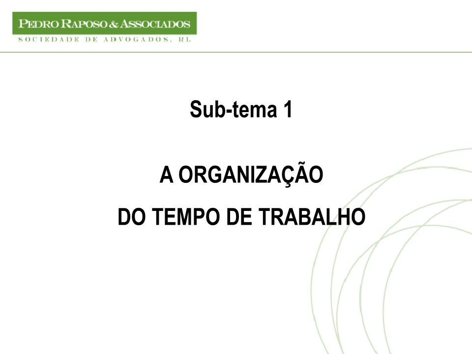 Sub-tema 1 A ORGANIZAÇÃO DO TEMPO DE TRABALHO