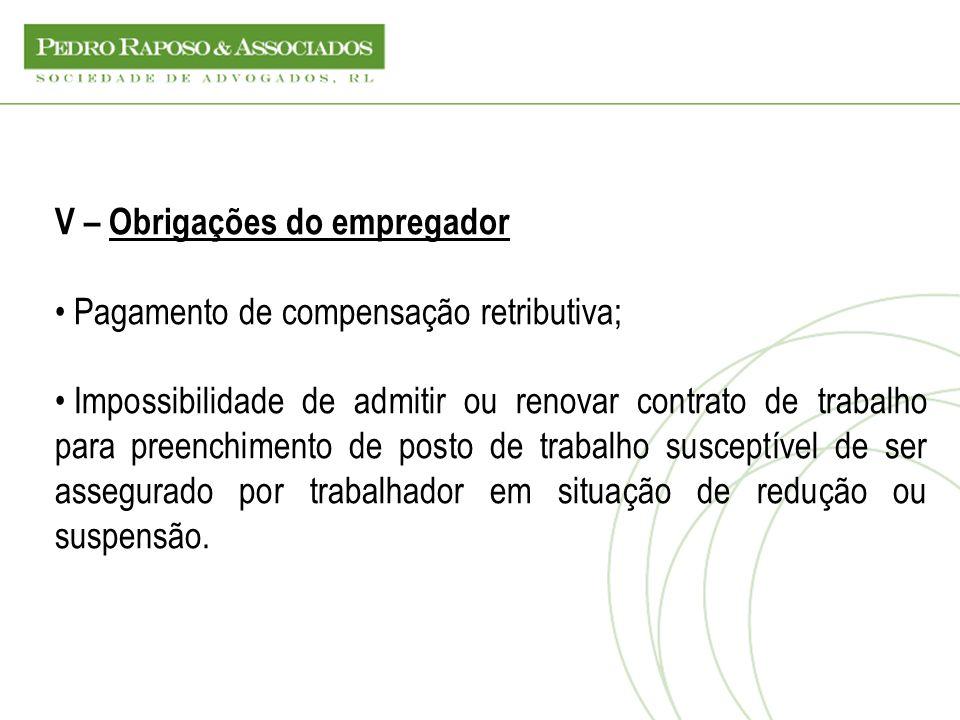 V – Obrigações do empregador Pagamento de compensação retributiva; Impossibilidade de admitir ou renovar contrato de trabalho para preenchimento de po