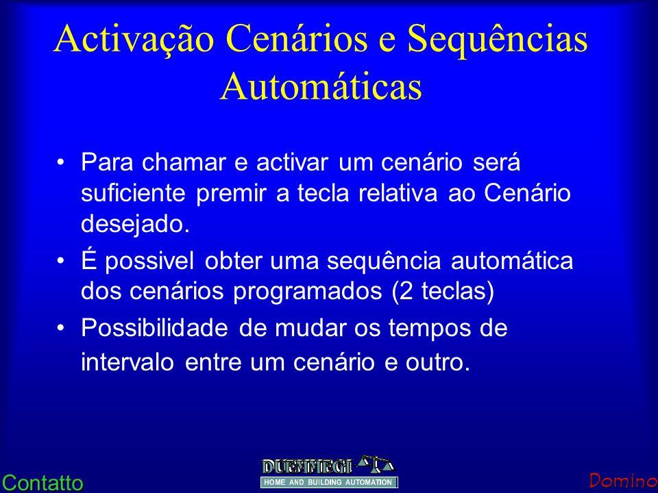 ContattoDomino Programação em 8 passos 1.2 teclas em simultâneo: habilita programa 2.Selecção canal dimmer 3.Aumenta a luminosidade 4.Diminui a lumino