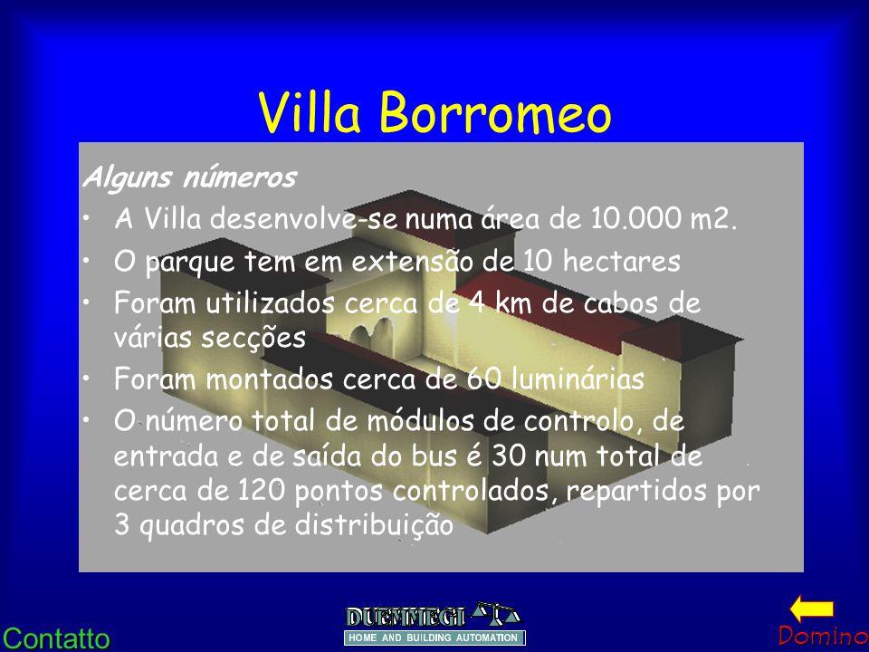 ContattoDomino Villa Borromeo O comando principal e o controlo provêm da recepção mediante cartas de controlo ligadas ao bus. A Instalação pode funcio