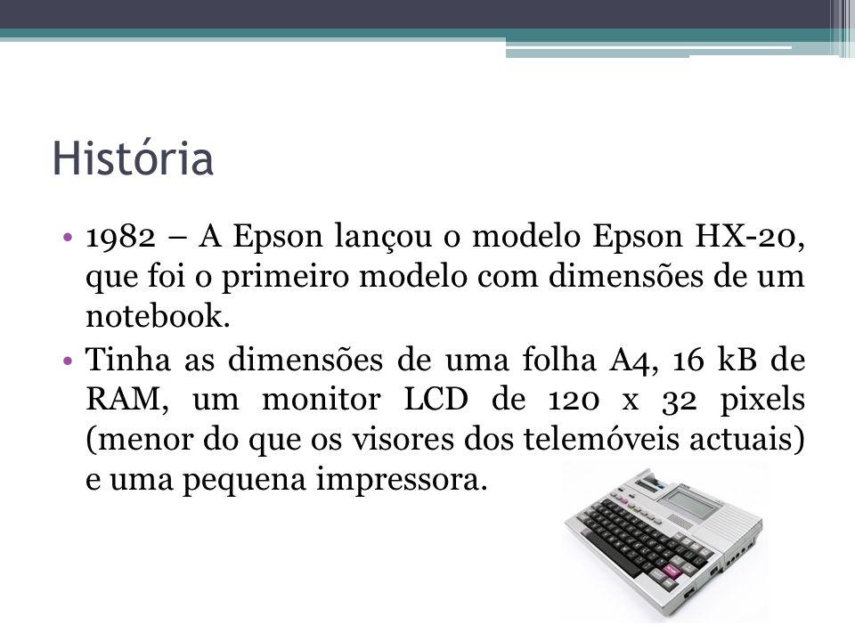 História 1982 – A Epson lançou o modelo Epson HX-20, que foi o primeiro modelo com dimensões de um notebook. Tinha as dimensões de uma folha A4, 16 kB