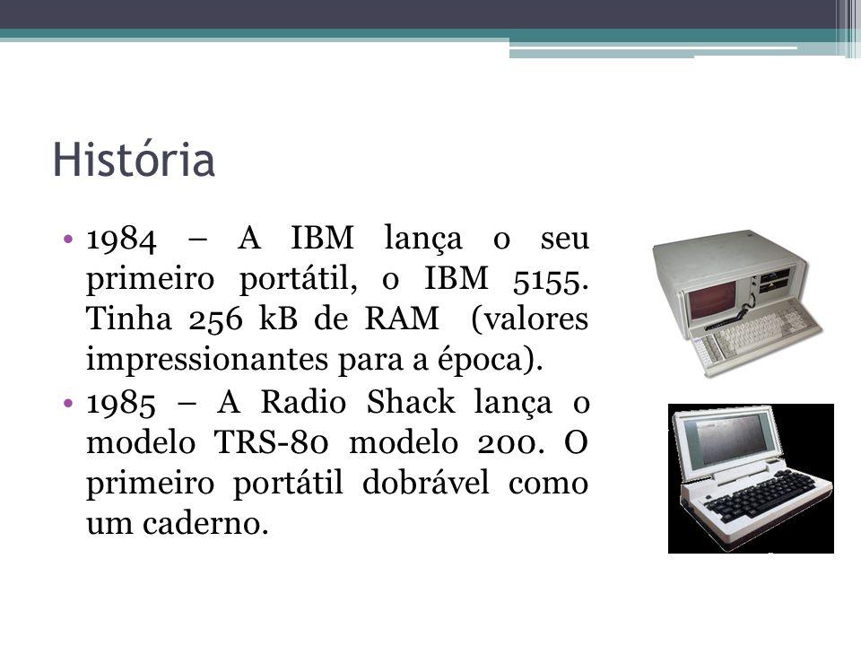 História 1984 – A IBM lança o seu primeiro portátil, o IBM 5155. Tinha 256 kB de RAM (valores impressionantes para a época). 1985 – A Radio Shack lanç