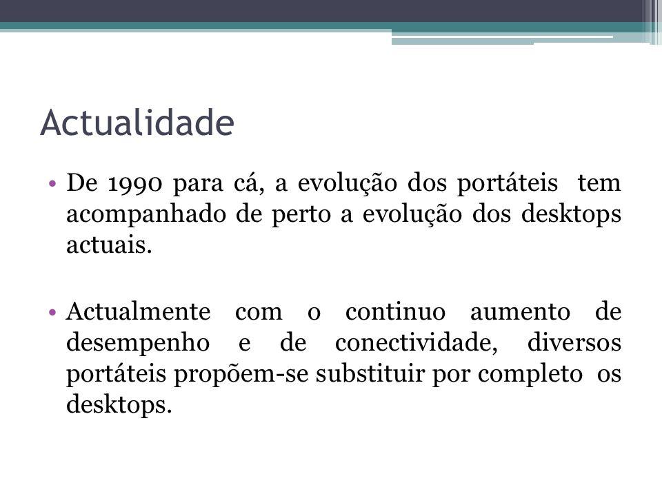 Actualidade De 1990 para cá, a evolução dos portáteis tem acompanhado de perto a evolução dos desktops actuais. Actualmente com o continuo aumento de