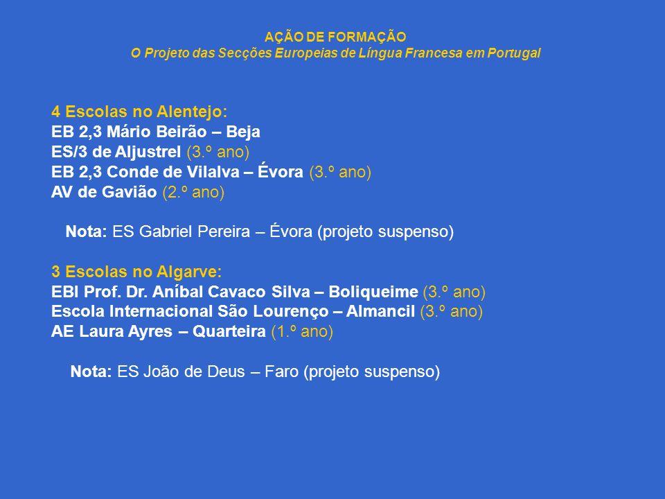 AÇÃO DE FORMAÇÃO O Projeto das Secções Europeias de Língua Francesa em Portugal 4 Escolas no Alentejo: EB 2,3 Mário Beirão – Beja ES/3 de Aljustrel (3.º ano) EB 2,3 Conde de Vilalva – Évora (3.º ano) AV de Gavião (2.º ano) Nota: ES Gabriel Pereira – Évora (projeto suspenso) 3 Escolas no Algarve: EBI Prof.