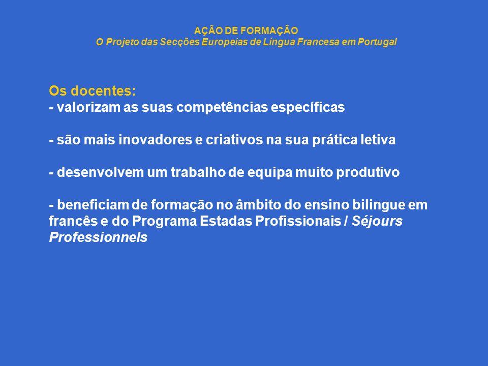 AÇÃO DE FORMAÇÃO O Projeto das Secções Europeias de Língua Francesa em Portugal Os docentes: - valorizam as suas competências específicas - são mais i