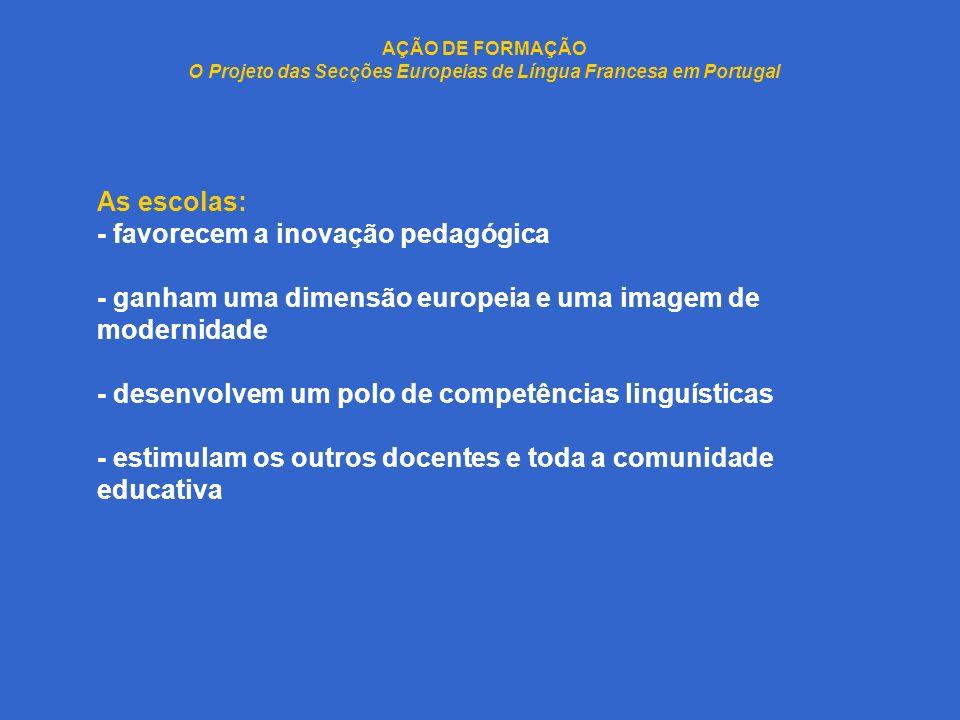 AÇÃO DE FORMAÇÃO O Projeto das Secções Europeias de Língua Francesa em Portugal As escolas: - favorecem a inovação pedagógica - ganham uma dimensão eu