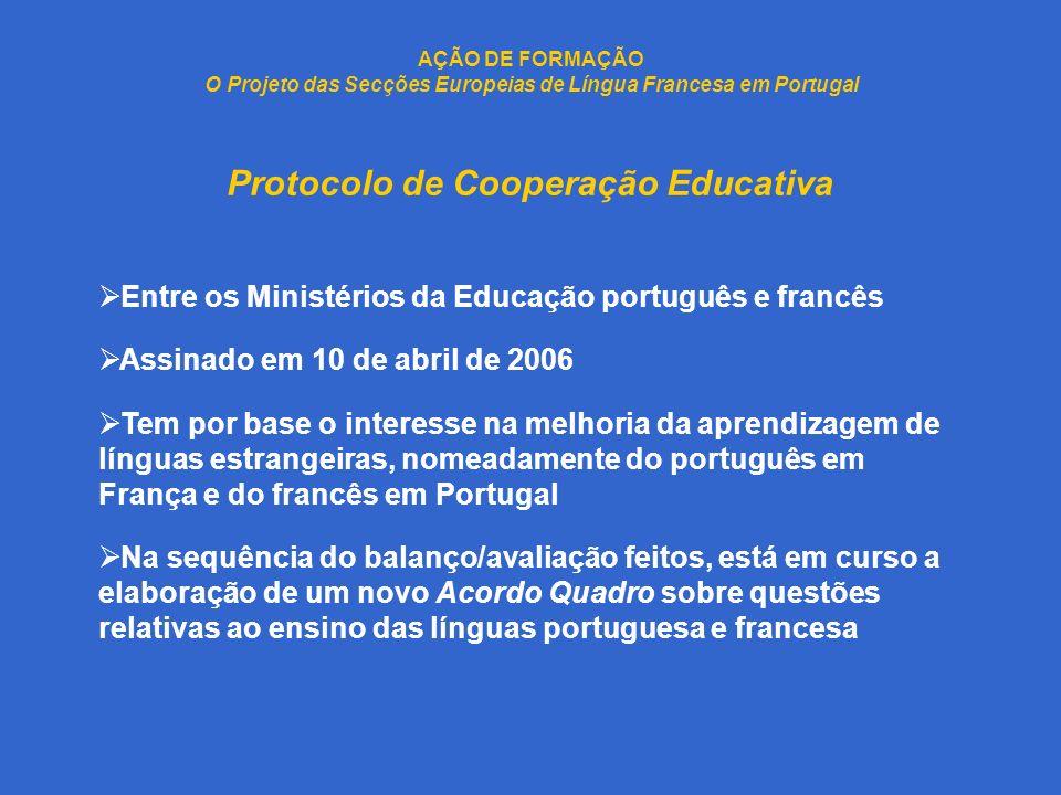 AÇÃO DE FORMAÇÃO O Projeto das Secções Europeias de Língua Francesa em Portugal Documento Enquadrador das SELF Elaborado pela DGIDC após a assinatura do Protocolo e face à necessidade de regulamentação Aprovado em 3 de julho de 2006 pela SEE Teve por objetivo garantir a monitorização/avaliação da fase experimental (3 anos), concluída em 2008/2009 Apresenta um conjunto de orientações, transmitidas às DRE, serviços responsáveis pela análise e seleção dos projetos das escolas