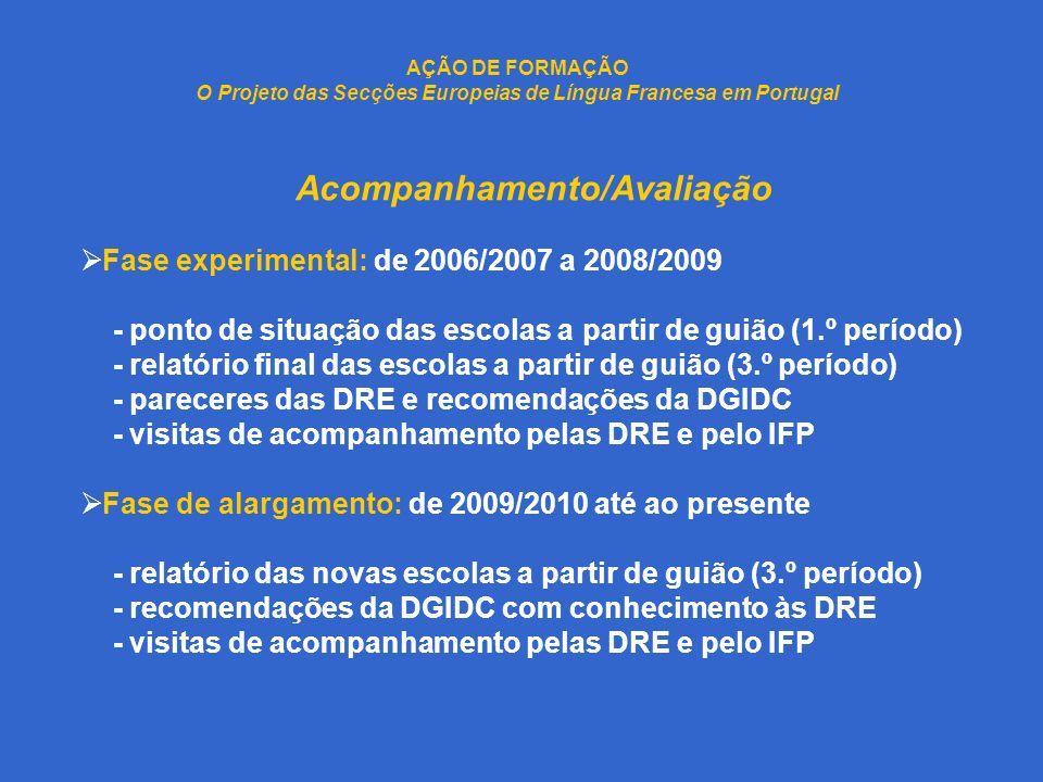 AÇÃO DE FORMAÇÃO O Projeto das Secções Europeias de Língua Francesa em Portugal Acompanhamento/Avaliação Fase experimental: de 2006/2007 a 2008/2009 -