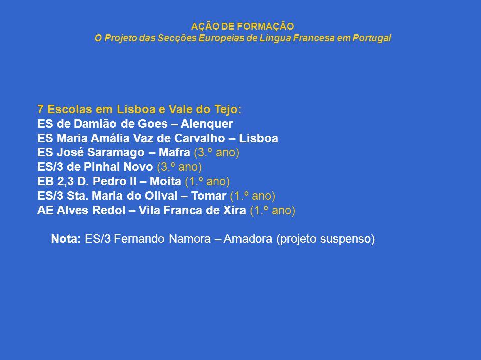 AÇÃO DE FORMAÇÃO O Projeto das Secções Europeias de Língua Francesa em Portugal 7 Escolas em Lisboa e Vale do Tejo: ES de Damião de Goes – Alenquer ES
