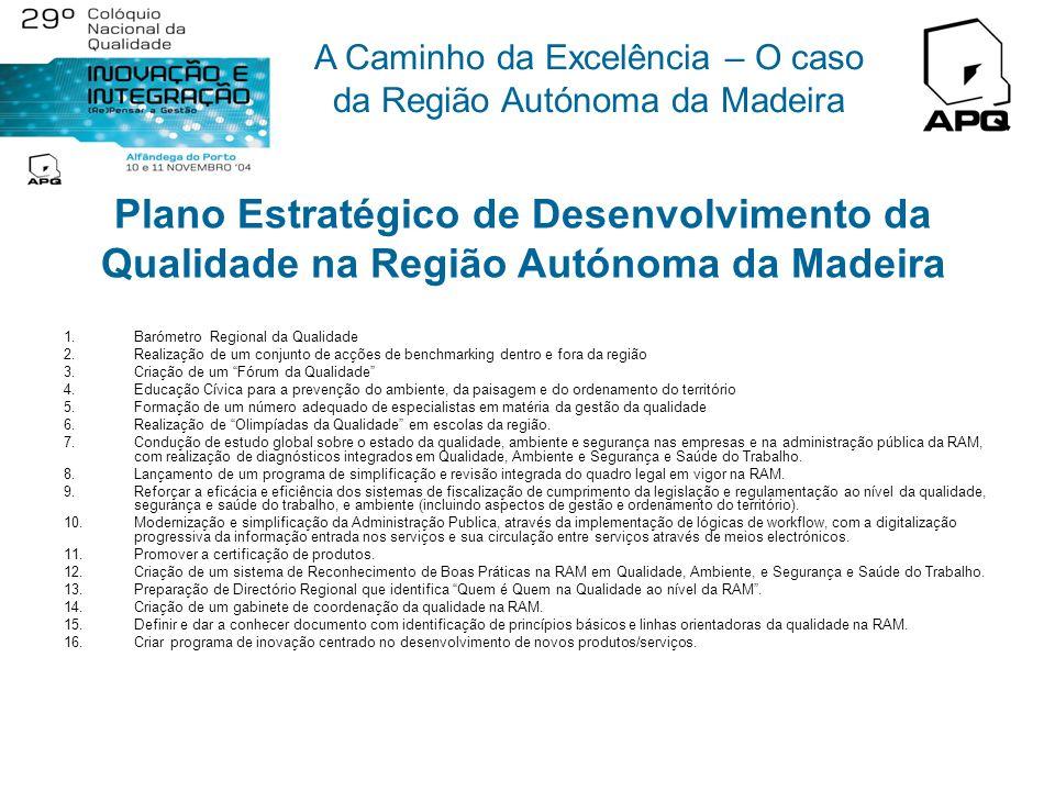 A Caminho da Excelência – O caso da Região Autónoma da Madeira Diagnóstico da Situação Actual Existência de um microclima favorável na RAM Os principa