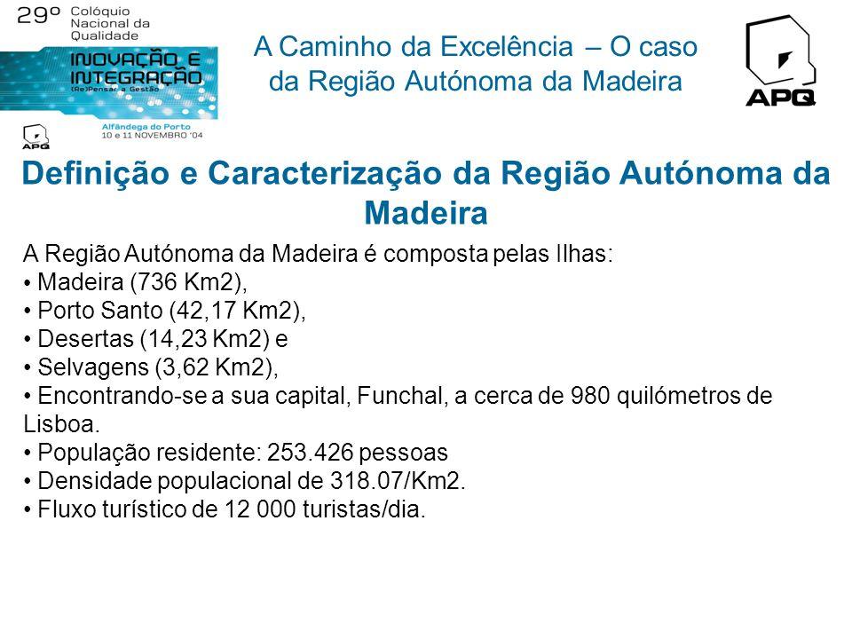 A Caminho da Excelência – O caso da Região Autónoma da Madeira Definição e Caracterização da Região Autónoma da Madeira A Região Autónoma da Madeira é composta pelas Ilhas: Madeira (736 Km2), Porto Santo (42,17 Km2), Desertas (14,23 Km2) e Selvagens (3,62 Km2), Encontrando-se a sua capital, Funchal, a cerca de 980 quilómetros de Lisboa.