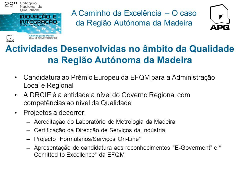 A Caminho da Excelência – O caso da Região Autónoma da Madeira Actividades Desenvolvidas no âmbito da Qualidade na Região Autónoma da Madeira Pró-Q Ma