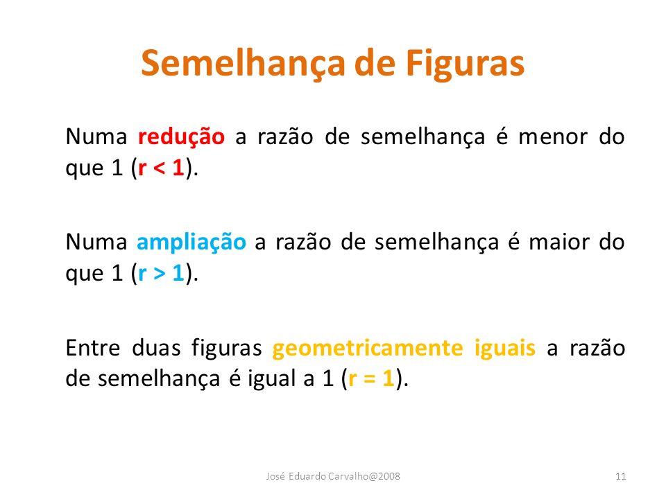 Semelhança de Figuras Numa redução a razão de semelhança é menor do que 1 (r < 1). Numa ampliação a razão de semelhança é maior do que 1 (r > 1). Entr