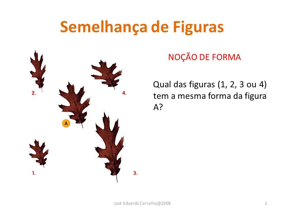 Semelhança de Figuras NOÇÃO DE FORMA Qual das figuras (1, 2, 3 ou 4) tem a mesma forma da figura A? José Eduardo Carvalho@20082