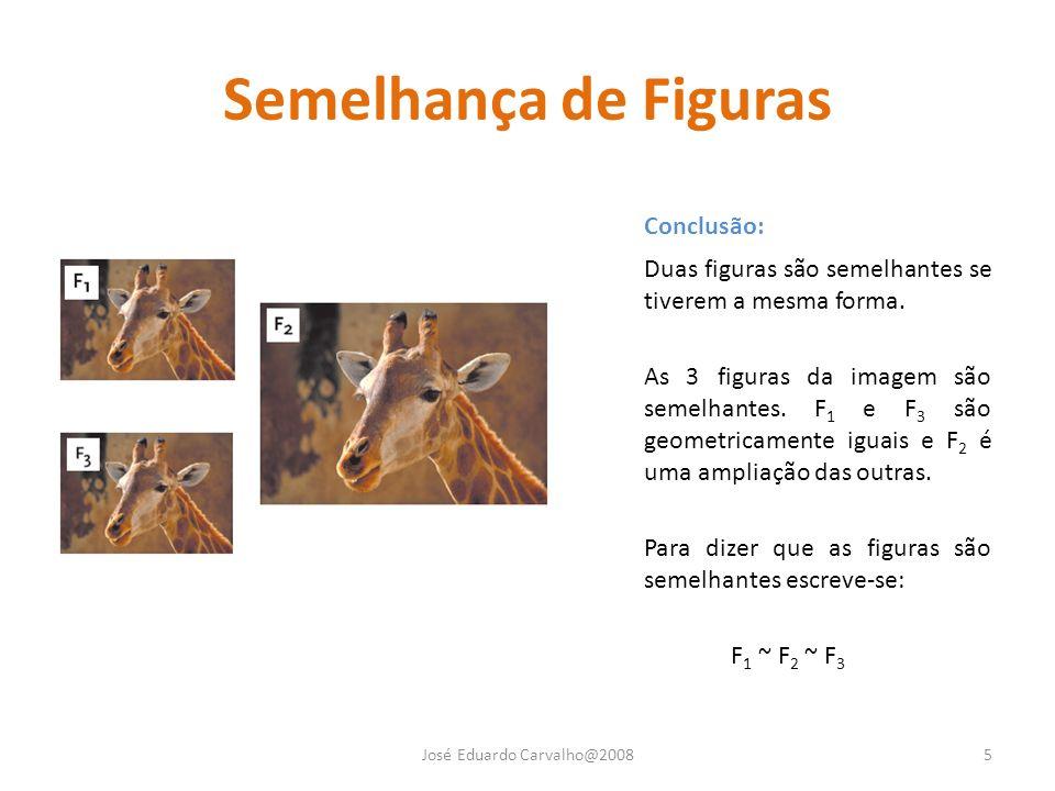 Semelhança de Figuras Conclusão: Duas figuras são semelhantes se tiverem a mesma forma. As 3 figuras da imagem são semelhantes. F 1 e F 3 são geometri