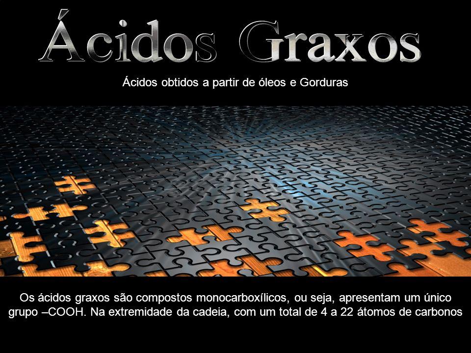 Ácidos obtidos a partir de óleos e Gorduras Os ácidos graxos são compostos monocarboxílicos, ou seja, apresentam um único grupo –COOH. Na extremidade