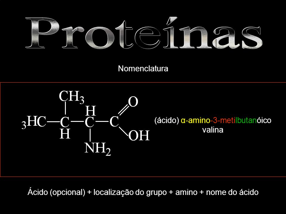 (ácido) α-amino-3-metilbutanóico valina Ácido (opcional) + localização do grupo + amino + nome do ácido Nomenclatura